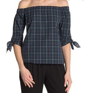 Bailey 44 Plaid Twin Off the Shoulder Blouse